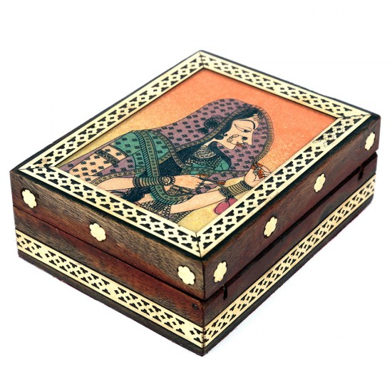 JAIPURCRAFT Wood Rectangular Gemstone Jewellery Box
