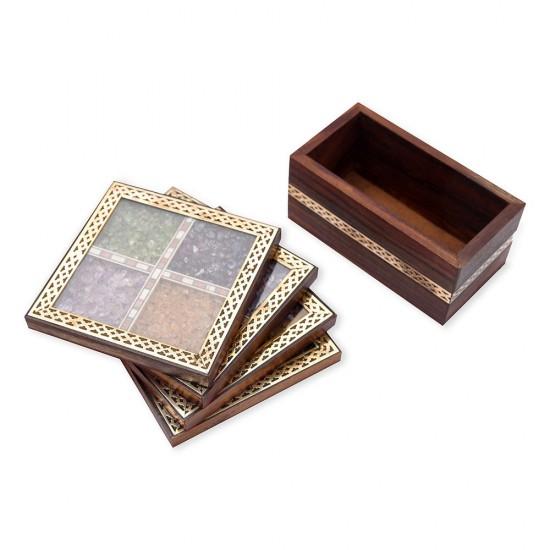 Brass Border Work Real Semi Precious Gem Stone Filled Unique Wooden Traditional Handmade Tea Coaster Set of 4
