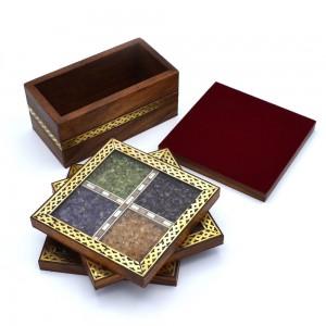 Brass Border Work Real Semi Precious Gem Stone Fil...