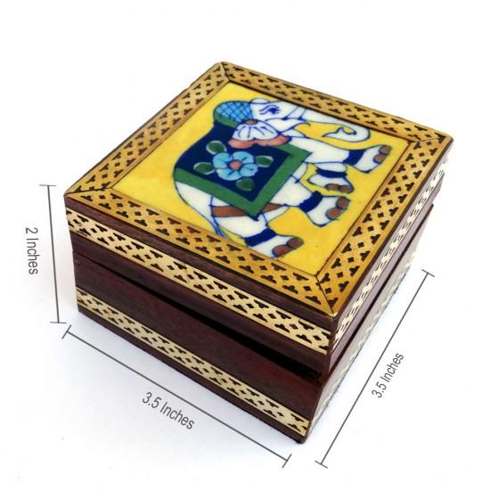Jaipur Blue Pottery Ceramic Tile Wood Utility Box (3.15 x 2 x 3.25 inch, Brown)