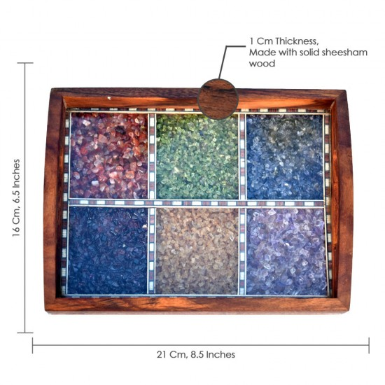 Brass Border Handcrafted Multicolor Real Semi Precious Gemstone Painting Wooden Tray 8 Inch Length - Serving Tray for Utility and Table Décor