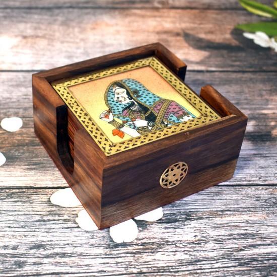 Bani Thani Gemstone Painting Wooden Coasters Set of 6, Gemstone Painting Wooden Tea & Coffee Coaster Set of 6 (Indian Monalisa)