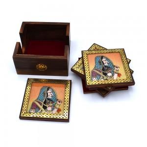 Bani Thani Gemstone Painting Wooden Coasters Set o...