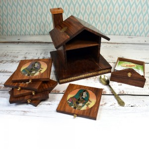 Handmade Hut Shape Wooden Coasters, Gem Stone Pain...