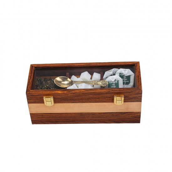 Natural Finish Glass Top Wooden Tea Storage Box with 3 Compartments, Brass Lock and Spoon