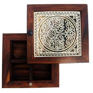 Sheesham Wood Spice Box, Dry Fruit Box, Masala Dab...
