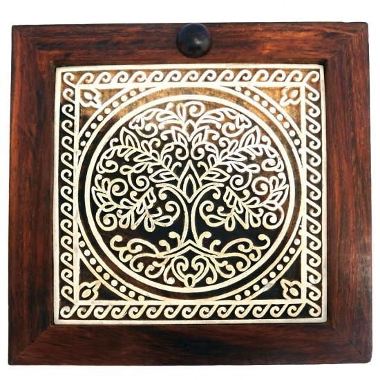 Sheesham Wood Spice Box, Dry Fruit Box, Masala Dabba (4 Container, Magnet Lock)