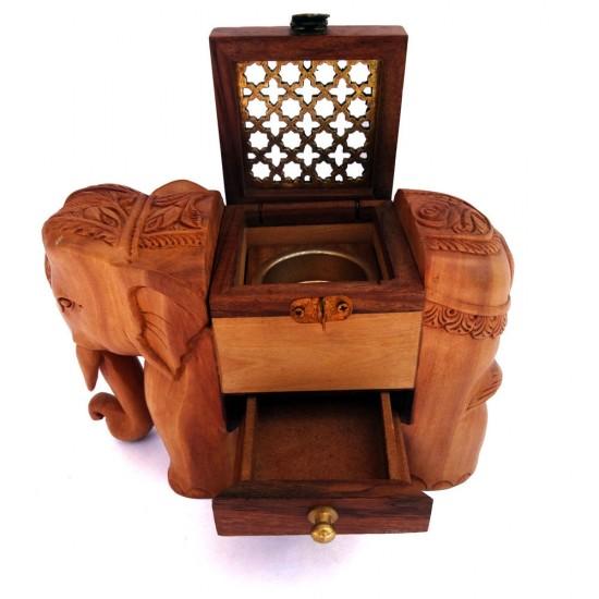 Elephant Statue Wooden Incense Cone Holder, Indian Elephant Dhuna Box, Prayer Lamp