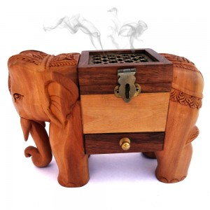 Elephant Statue Wooden Incense Cone Holder, Indian...