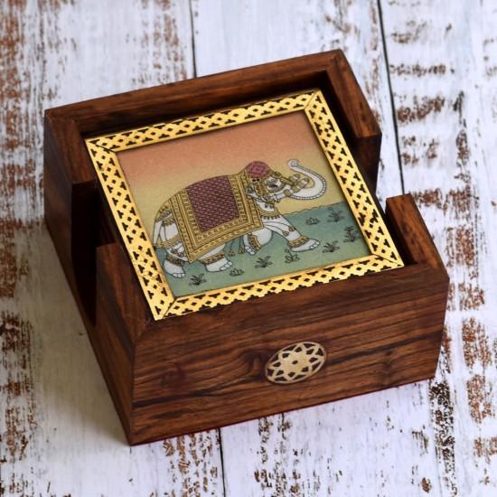 Elephant Design Gemstone Painting Wooden Tea & Coffee Coaster Set of 6