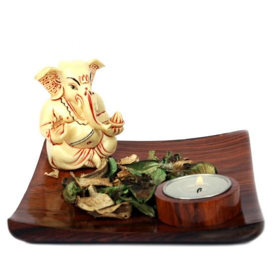 Blessing Pose Ganesha Idol Tealight & Fragrance Potpourri Holder on Wooden Plate (Brown)