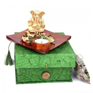 Blessing Pose Ganesha Idol Tealight & Fragranc...