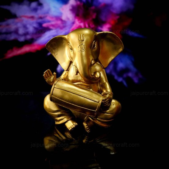Lord Ganesha Statue Playing Dholak Figurines of Ganesh Vinayak Gold Color Metal Vinayak Idol (Dholak Design)