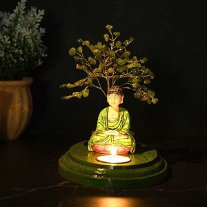 Meditating Buddha Under Crystal Tree Tea Light Hol...
