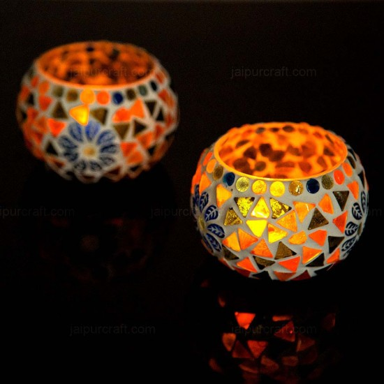 Mosaic Glass Votive Tealight Candle Holders (Pack of 2)