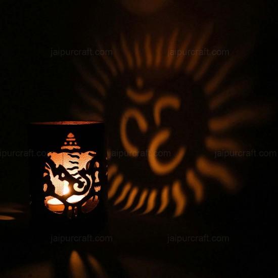 "Laxmi and Ganesha Shadow Lamp | Decorative Table Shadow T-Light Holder (4"" X 3"")"