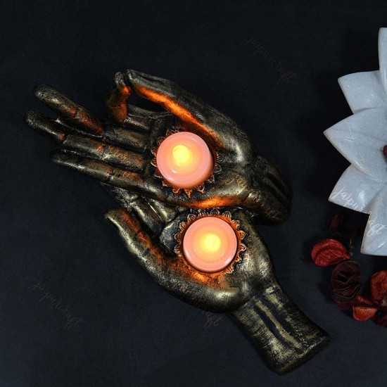 Dhyana Mudra, Gyan Mudra Palms Tea Light Holder, Hand Figurine Enlightenment Meditation Zen Feng Shui Candleholder