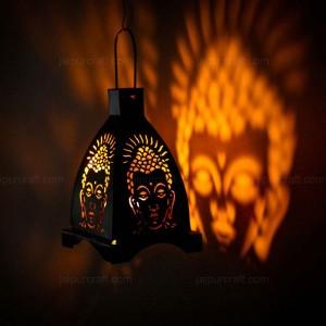 Buddha Tealight 4 Side Shadow Candle Holder, Wroug...