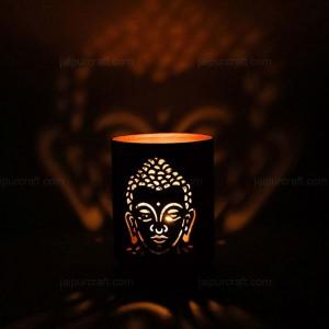 Buddha Shadow Lamp Tea Light Holder, Cylinder Shap...