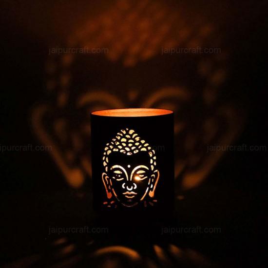 Buddha Shadow Lamp Tea Light Holder, Cylinder Shape Shadow Lamp (2 Side Buddha Face)