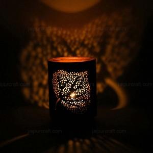 Banyan Leaf Shadow Lamp Tea Light Holder, Cylinder...