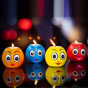 Multicolor Smiley Tealight Holder, Funny Faces eco...