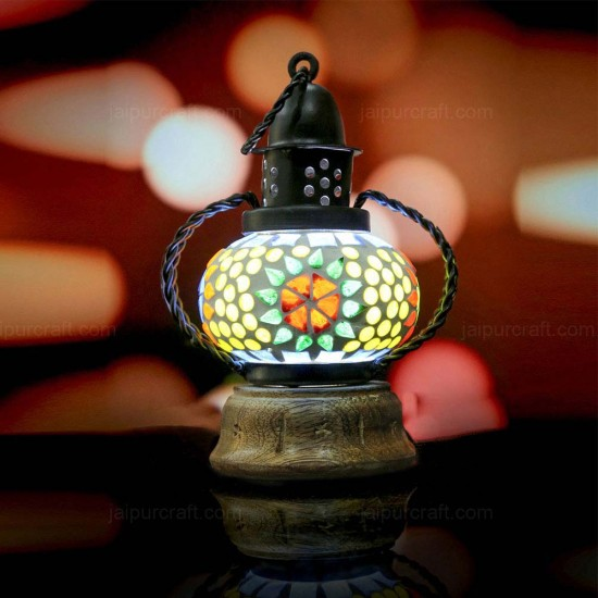 Wooden Base Turkish Moroccan Lamp, Handmade Mosaic Glass Lantern (Mini Mosaic Lamp)