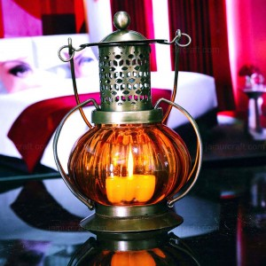 Pumpkin style colorful Candle Light Chimney Lanter...