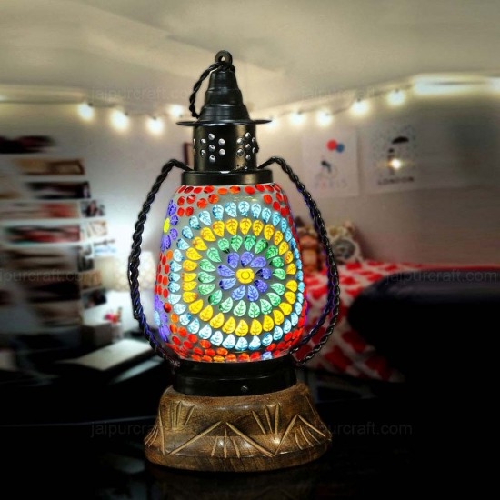 Wooden Base Turkish Moroccan Lamp Marrakech Stained Moroccan Lantern Handmade Mosaic Glass (Big Size Mosaic Lantern Pattern)