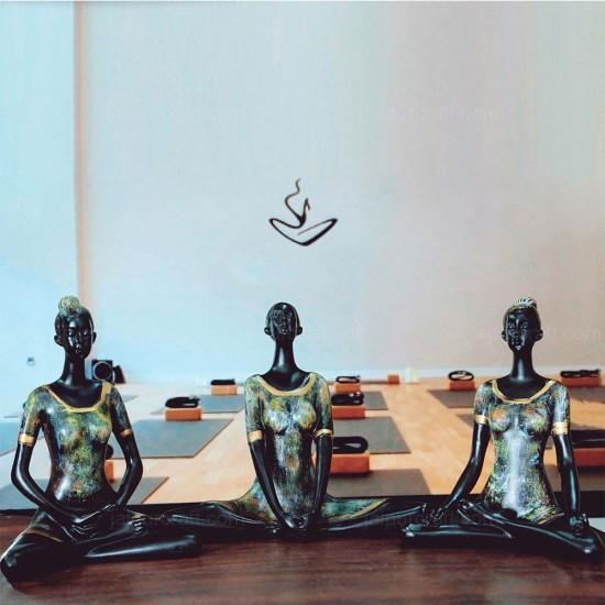 "Set of 3 Meditation Yoga Pose Statue Figurine Resin Yoga Figure Decor Retro Black Mat Finish (8"" Tall)"