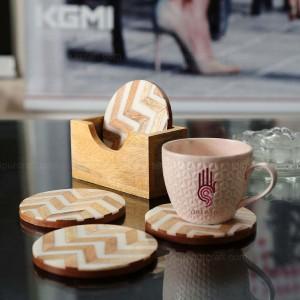Set of 4 Resin Inlay Tea Coasters, Wooden Coaster ...