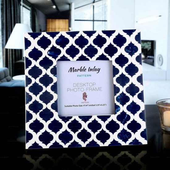Picture Photo Frame Moroccan Arts Inspired Handmade Marble Inlay Frames Photo Size 4X4 Inches